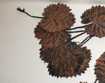 Vintage Millinery Flower BLACK Brown Leaves Mulberry Birch Tree Foliage Hat Making Trim Supplies