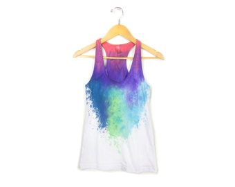 "Berry Nebula Tank - Original ""Splash Dyed""Scoop Neck Racerback Tank Top in White - Women's Size XS-L Q"