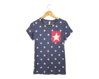 Starry Pocket Tee - Girly Fit Crew Neck Tshirt with Rolled Cuffs in Heather Navy and Red Stars and Stripes - Women's Size S-XL