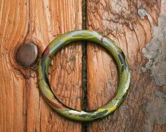 Vintage Wooden Bangle Hand Painted Bracelet