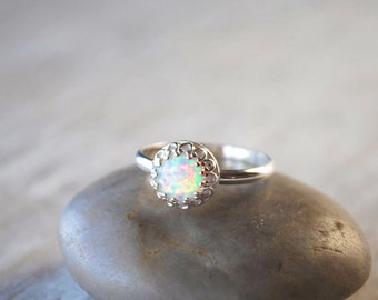 Opal Ring in Sterling Silver - Handcrafted Artisan Silver Ring  - Sterling Silver Opal Stack Ring