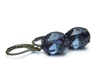 Sapphire Earrings. Swarovski Montana Blue Sapphire Rhinestone Earrings. Clip On available