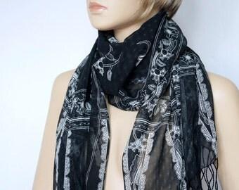 Scarf Vintage Black and White Scarf Extra Long Fringed Sheer Shawl Oblong Wrap Elegant Boho