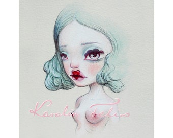Amore goddess of love - 5x7 signed art print unframed. mature valentine lowbrow pop surrealism art by KarolinFelix