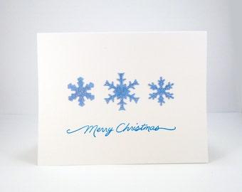 Blue Christmas snowflake card, Merry Christmas card, merry xmas, simple holiday card, christmas greeting card, after christmas sale