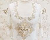 Victorian mesh & print top S/M