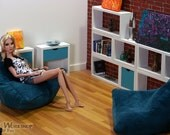 Pair of Blue Bean Bag Chairs for Momoko and Fashion Royalty playscale Diorama