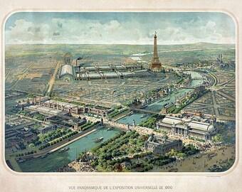 antique french victorian birdseye view Paris eiffel tower illustration digital download