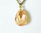 Peach Teardrop Necklace, Vintage Rhinestone Necklace, Teardrop Setting, Estate Style Necklace Pale Coral Feminine Jewelry Peach Framed Glass