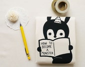 LAST ONE - How To Become A Monster (Rabbit Version) - Reusable, Washable & Eco Friendly Tote Bag - Cotton Silkscreen Tote Bag