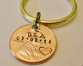 Wedding Keychain Ring: Custom, Personalized, Hand Stamped Gift, Bride, Groom, Penny Keychain, Bridal Shower, Keepsake; Wedding Date Initials