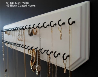 6x24-White 45-Black, Jewelry Organizer Necklace Holder with 45 Coated Jewelry Hooks Assembled.