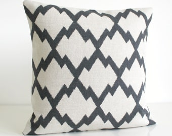 Ikat Pillow Cover, Ikat Pillow Sham, Accent Pillow, Linen Cotton, Pillowcase, Cushion Cover, Decorative Pillow Cover - Ikat Trellis Charcoal
