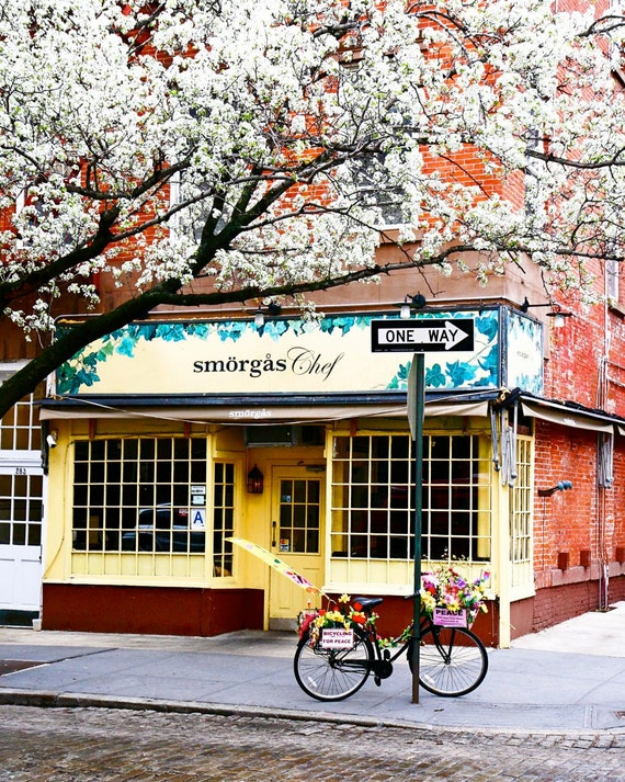New York City Photography - West Village Smorgas Chef Print - NYC Photo Manhattan Fine Art Photograph Cafe Decor Bicycle Yellow Red