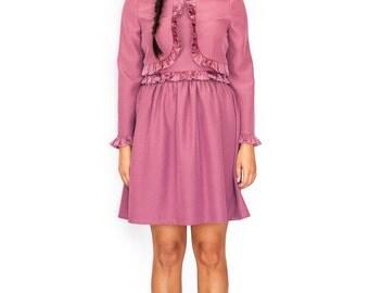 Mod ruffle coral 60s dress A line cute tea dress mad dress