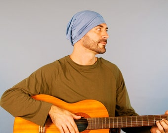 Men's Hat - Unisex Hat - Slouchy - Beanie - Gray Blue - Eco Friendly  Jersey - Organic Clothing