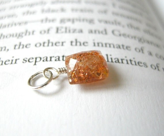 Rustic TINY Sunstone Pendant - Rectangular Faceted Stone / Earthy Orange Schiller, Pumpkin Spice Glitter Autumn Jewelry