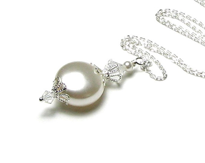 Bridal Necklace, White Satin Swarovski Pearl And Crystal Sterling Silver Pendant Necklace, Romantic Wedding Jewelry, White Pearl Necklace