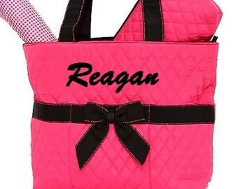 Diaper Bag Set Fuchsia Black Personalized Name