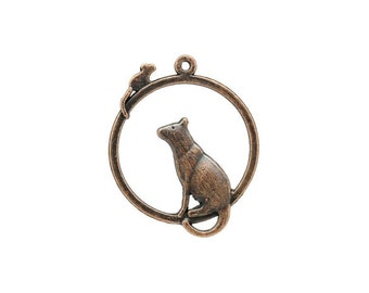 SALE - 6 Cat and Mouse Charms in Copper Tone - C1612