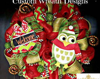 Welcome Owl Christmas Wreath, Whimsical Christmas Wreath, Christmas wreath, deco mesh wreath, wreath, Christmas decorations, holiday wreaths