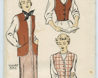 1940's New York Pattern 605 Misses Ladies Vests and Jerkin Vintage Sewing Pattern Bust 36