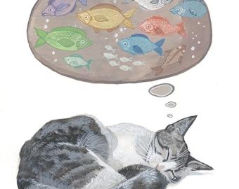 "Cat Dreams - Original Watercolor Painting - 7.5"" x 11"""