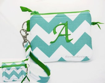 Personalized Wristlet Student Id Holder, Coin purse with zeppered ID window pocket, Custom Made by GisellasDesigns