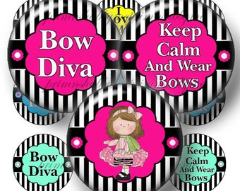 2 Keep Calm And Wear Bows, Bottle Cap Images, Digital Collage Sheets, 1 Inch Circles, Black and White Stripes, Instant Download, 4x6 Collage