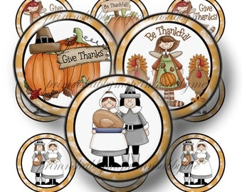 Thanksgiving, Bottle Cap Images, Digital Collage Sheet,1 Inch Circles (Be Thankful 1) Fall, Glass Cabochons, Pendant Images, Cupcake Toppers