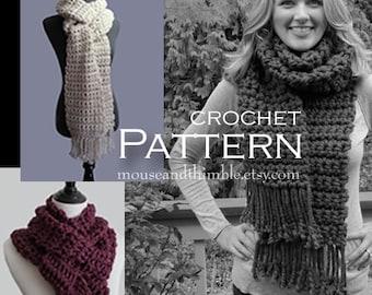 Long Bulky Scarf with Fringe - Easy BEGINNER Crochet Pattern - PDF 9810