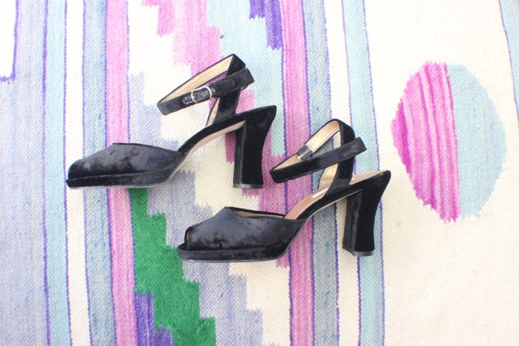 Chunky Velveteen Heels with Ankle Strap / Black Women's Shoes Size 8 1/2