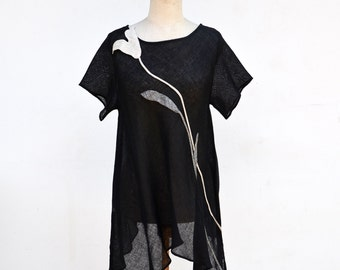 Long light black linen tunic, tank sculptural floral applique S size eco hand made woman unique fashion design hemp flax clothing art 191