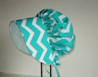 Baby Bonnet - Sun Hat - Easter Bonnet - Chevron Sunhat - Baby Girl Sun Bonnet - Cotton Summer Bonnet - Made To Order Size Newborn to 2 years