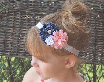 Pink Denim Baby Girl Headband - Flower Hair Bow in Blue Demin, Pink and White for Babies, Toddlers and Girls
