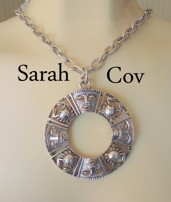 80s Sarah Coventry Aztec Medallion Pendant Necklace / Designer Signed / Silver Plate / Jewelry / Jewellery