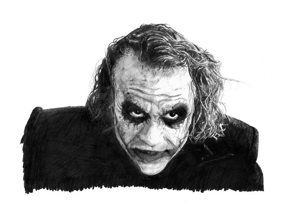 JOKER pencil drawing Heath Ledger poster