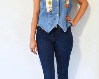 80s GITANO denim vest with fringe / vintage southwestern style embellished top