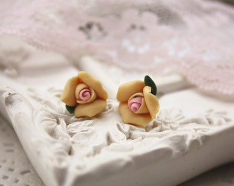 handmade clay rose earrings studs cute mini flower jewellery accessory floral cottage chic statement