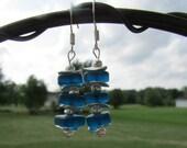 Peacock Blue Sea Glass Sterling Silver Earrings