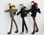 Custom Mountain Backpacker man doll, bearded traveler soft sculpture, ooak trekking art doll, mountaineers softies, hiking lover gift