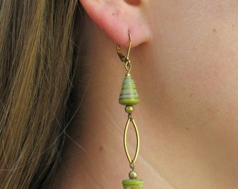 Green All Wound Up Drop Earrings - Green and Gold Handmade Paper Beads with Brass Earrings - GIFTS UNDER 30 - Gift For Her -