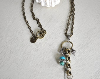 Long Charm Necklace-  Boho Jewelry- Boho Necklace- Long Necklace- Pendant Necklace- Bronze and Blue Necklace