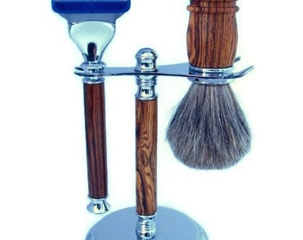 Gillette Fusion Razor Bocote Wood Men's Shaving Kit Chrome Finish Razor Handle Badger Hair Brush and Razor Stand Groomsmens Gift