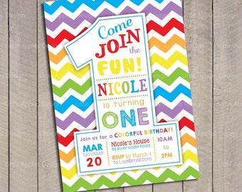 Rainbow Birthday Invitation / Rainbow invitation / Rainbow Party Invitation / Rainbow Invite / Rainbow Printable DIY