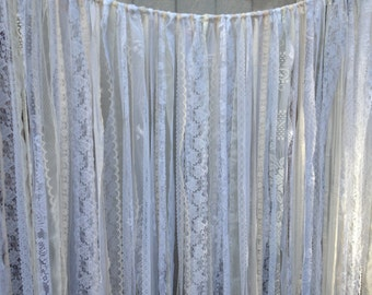 Lace Garland Backdrop Curtain - Wedding Ceremony & Special Events - photo prop, valance - Banner, Bunting