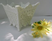 White Reticulated Square Footed Vase - Scalloped Edge Wedding Vase - Candle Holder - Candy Dish