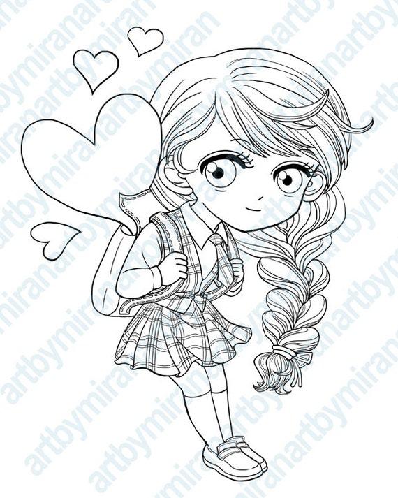 digital stampschool girl digi stamp coloring page
