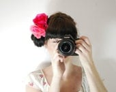 Summer hair accessories - Pink and magenta flower headpiece - Beach hair accessories - Bright hair accessories - Hair accessories for women