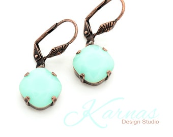 Discontinued MINT ALABASTER 12mm Cushion Cut Dangle Earrings Swarovski Elements *Pick Your Finish *Karnas Design Studio *Free Shipping*